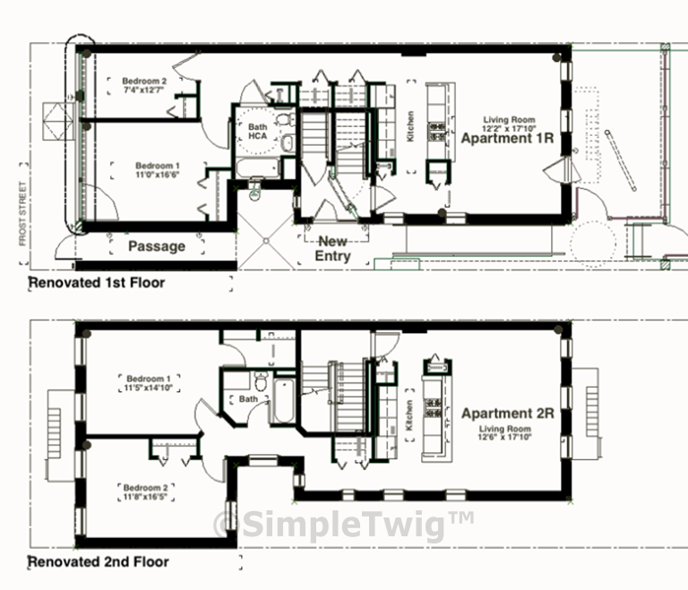 Plans showing 1st and 2nd floors. Note the passage is fully used, thus creating room for a 2nd bedroom on the 1st floor.