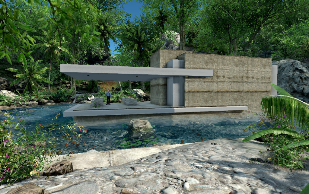 Main view of house with open living area surrounded by water, both for pleasure and security.