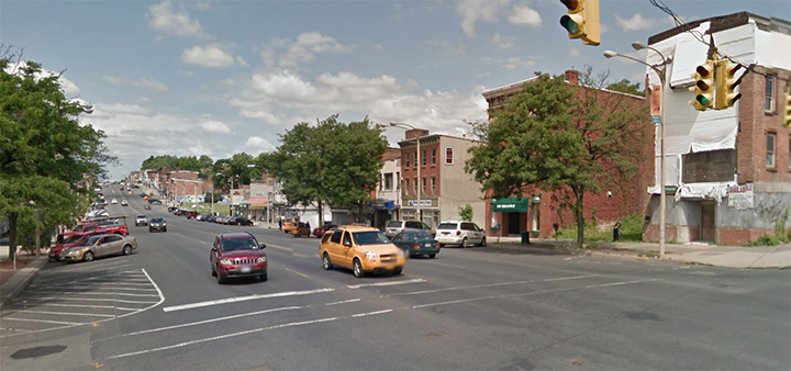 Broadway, Newburgh, NY's main street. A super wide street which is ultimately pedestrian and retail hostile.