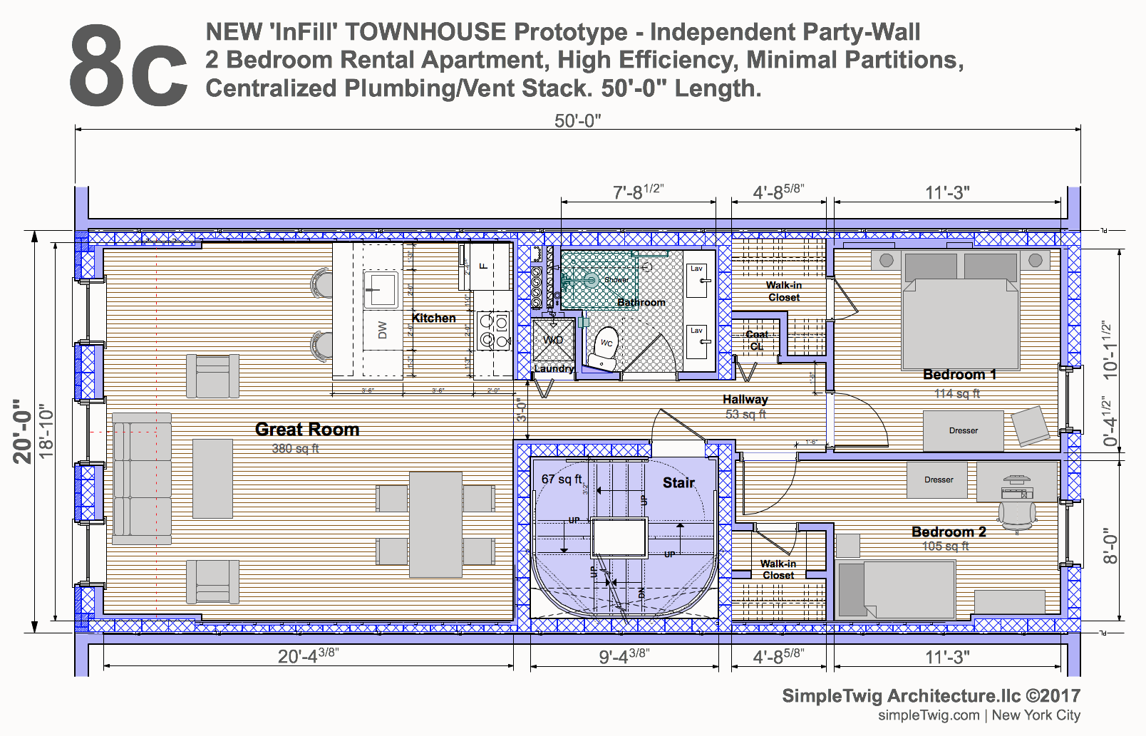 Excellent town house plan contemporary exterior ideas 3d for Townhouse construction plans