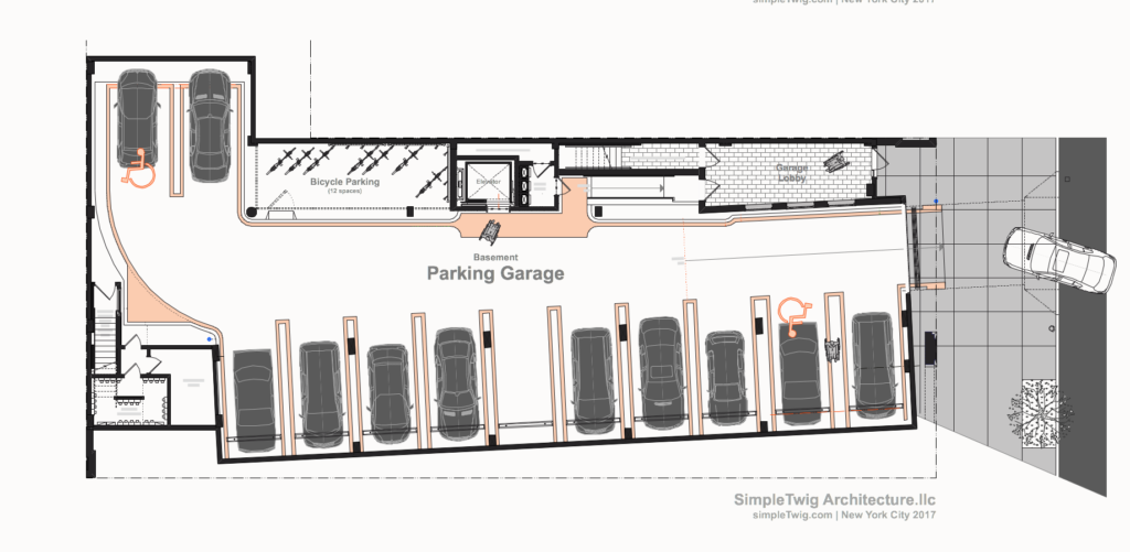 40 unit apartment building in brooklyn parking for Basement access from garage
