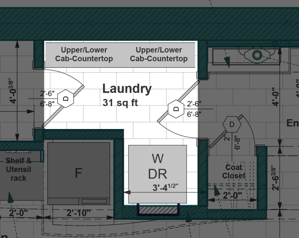 Stacked Laundry, Multi-function Room by SimpleTwig.