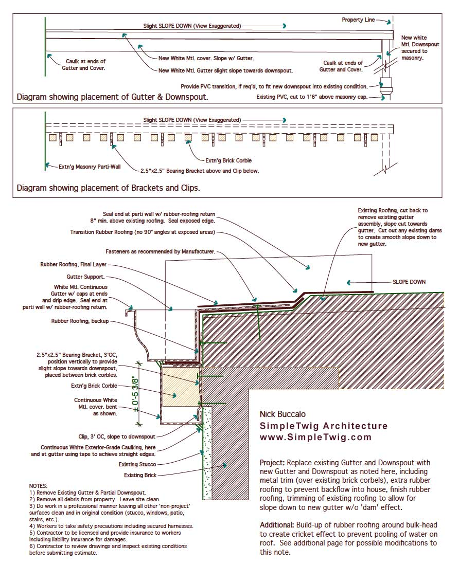 The trim also acts as a slope guide to ensure the gutter gently slopes towards the downspout as noted in the elevation diagrams